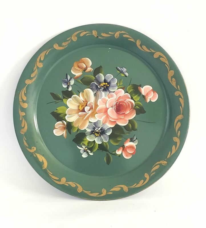 Charming Large Hand Painted Round Green Floral Toleware Tray c. Mid-Century