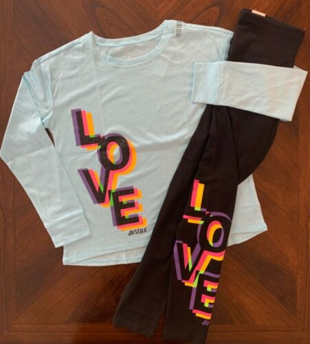 """NWT Justice Girls """"Love"""" LS Graphic Ringer Tee & Matching Leggings Outfit! 16/18"""