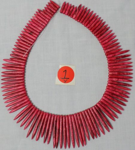 "19"" Strand RED Howlite Graduated Stick Needle Spike Beads 29-50mm Old Stock"