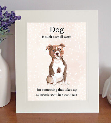 """Staffordshire Bull Terrier """"Dog is such a small word"""" 8x10 Picture Print Gift"""