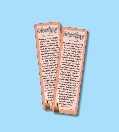 "MATTHEW 5:3-12 ""THE BEATITUDES"" - 2 SCRIPTURE VERSE BOOKMARKS - sku# VBM1111"