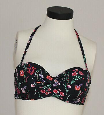 JETTE Bandeau Bikini Oberteil mit Wickeloptik und Print Gr 36 NEU (B104)