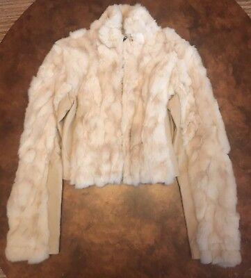 RARE Bebe Beige Leather Rabbit Fur Trimmed Crop Fashion Jacket Size L