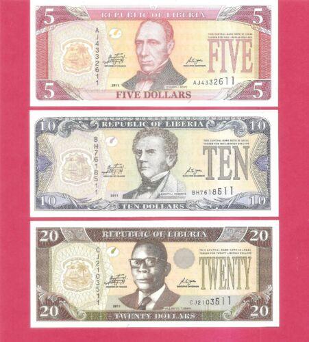 Liberia $5 $10 $20 2011 set of 3 Uncirculated