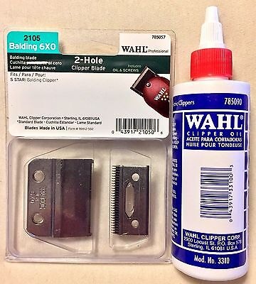 WAHL 2 HOLE  5 STAR BALDING CLIPPER BLADE #2105,UPC, 043917210506 & WAHL OIL 40Z ()