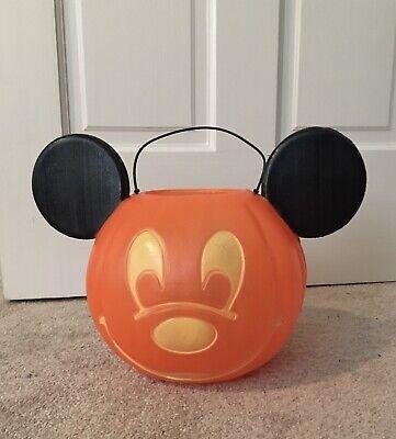 General Foam Mickey Mouse Pumpkin Pail Blow Mold Bucket Jack O Lantern Halloween