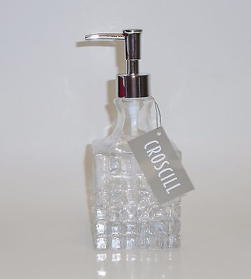 CROSCILL RECTANGULAR CHECKER CUT CRYSTAL GLASS BATHROOM SOAP,LOTION DISPENSER Checker Crystal