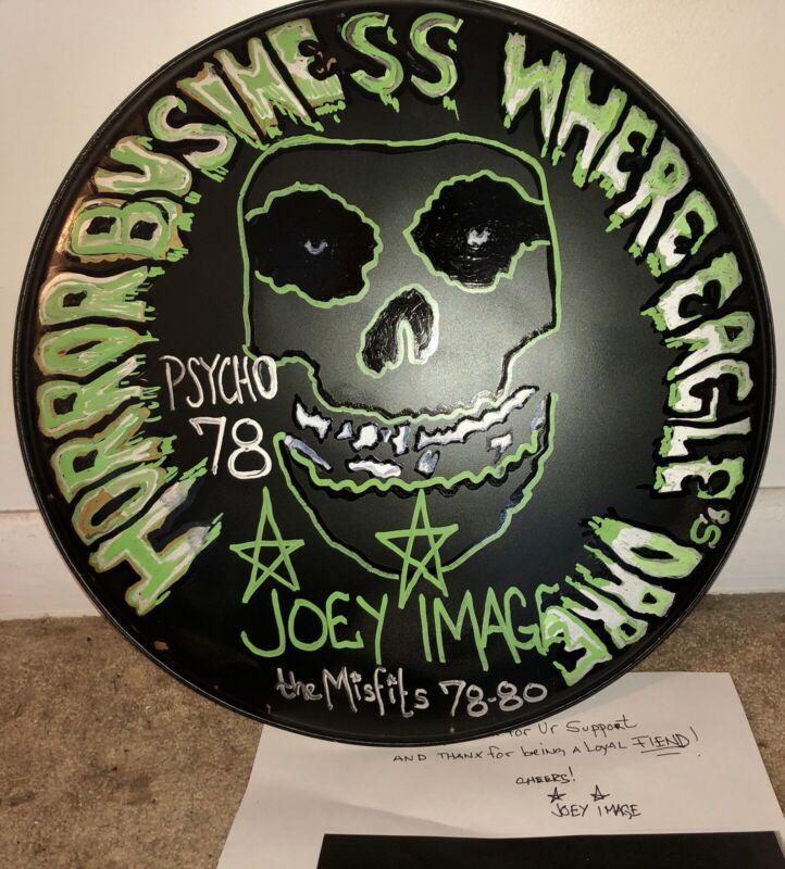JOEY IMAGE POOLE auto autograph original artwork MISFITS Drumhead singed drummer