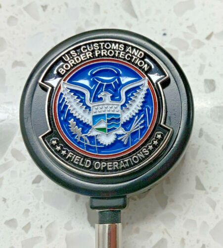 CBP Field OPS ID Holder with Black Metal Case Retractable Reel