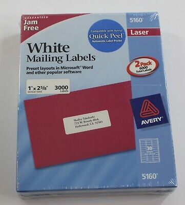 2 Box Of 3000 Avery 5160 Address Mailing Shipping Labels 1 X 2 58 6000 Total