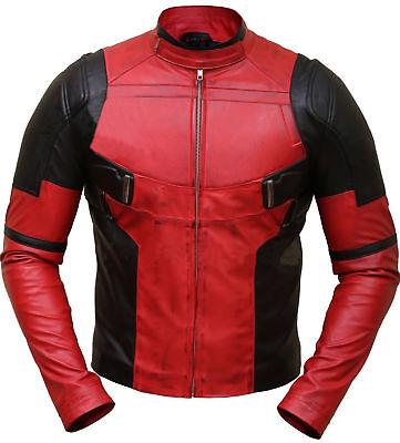 Deadpool Wade Wilson Ryan Reynolds Distressed Biker Leather Jacket Costume