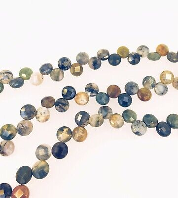 Indian agate faceted coin beads, Natural multi color gemstone beads 10mm 10 Mm Faceted Coin
