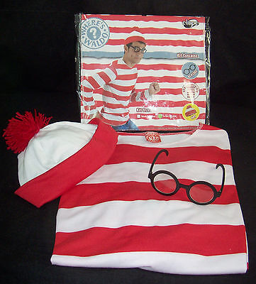 lloween Costume Outfit Shirt Hat Glasses Large X-Large  (Waldo Outfit)