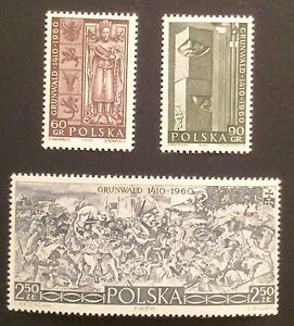 POLAND-STAMPS MNH Fi1030-32 SC922-24 Mi1174-76 - Battle of Grunwald, 1960, clean - <span itemprop=availableAtOrFrom>Reda, Polska</span> - POLAND-STAMPS MNH Fi1030-32 SC922-24 Mi1174-76 - Battle of Grunwald, 1960, clean - Reda, Polska