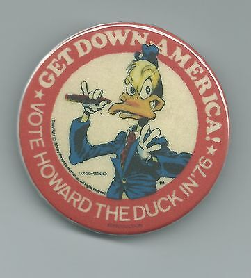 Vote Howard The Duck In '76 Get Down America Pin Button Marvel Comics Repro