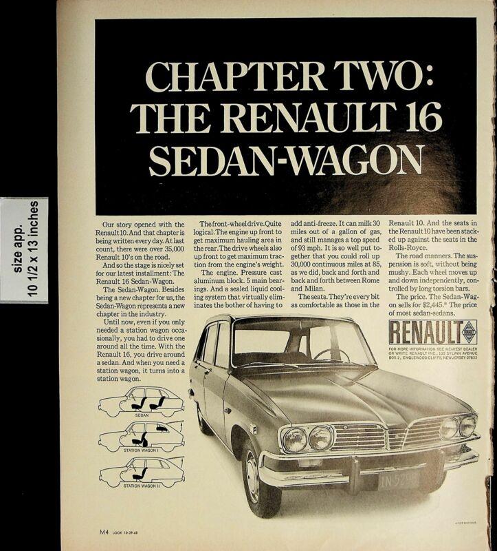 1968 Chapter Two Renault Sedan-Wagon Vintage Print Ad 5218