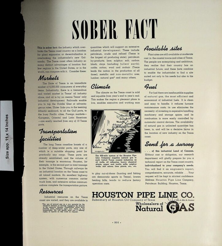 1937 Sober Fact Houston Pipe Line Co Gas Vintage Print Ad 5036