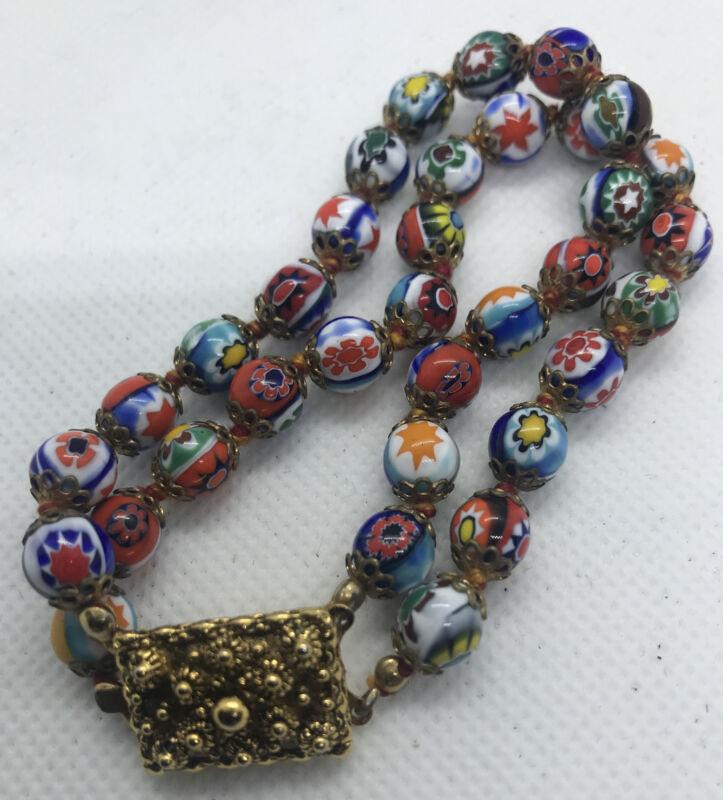 Vintage Millefiori Glass Beads Bracelet Knotted 2-strand Box Clasp