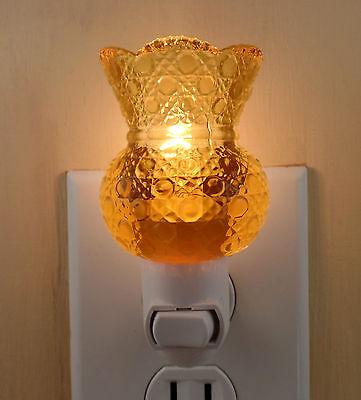 "Light Amber Circle Pattern Toothpick Holder 2 3/8"" High  Custom Made Night Light"