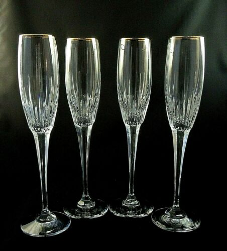 (4) Golden Lights by Mikasa Crystal CHAMPAGNE Flute Glasses 10 5/8""