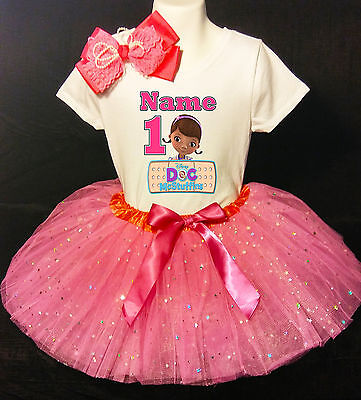 Doc McSTUFFINS *With NAME* 1st first 1 Birthday fuchsia Tutu dress Fast Shipping - Doc Mcstuffins 1st Birthday Party