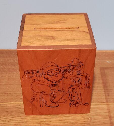 Vintage 1980 TOYSTALGIA Wooden BANK Music Box CHRISTMAS Santa JINGLE BELLS