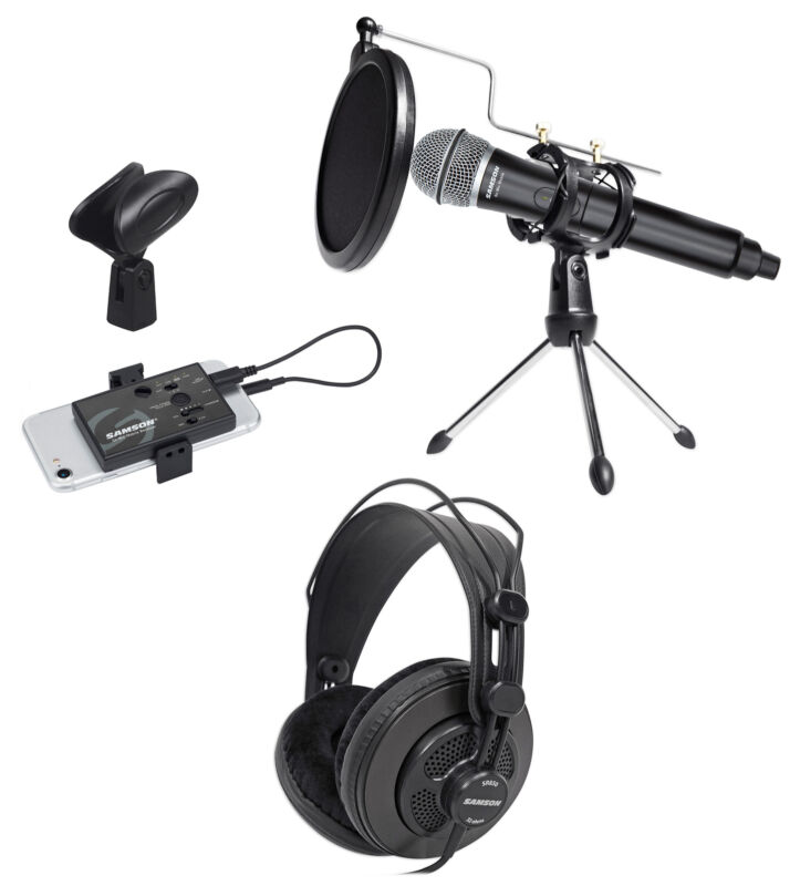 Samson Wireless ASMR Recording Streaming Kit w/Microphone+Stand+Headphones