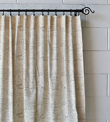 (French Scripted Linen Designer Drapery Curtain Panels(two Panels), Cream,Unlined)