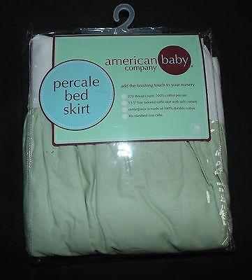American Baby Company 100% Cotton Percale Dust Ruffle Crib Skirt Celery Green
