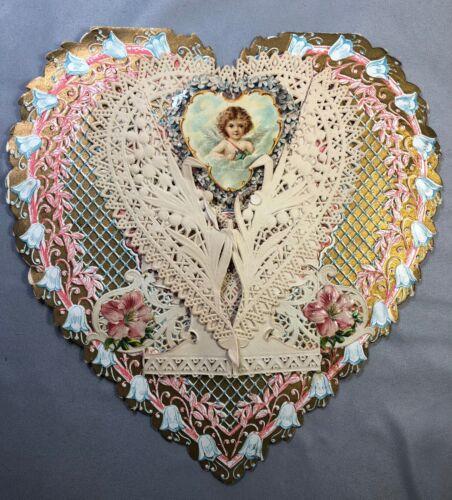c. 1910 7-inch CUPID Heart VALENTINE Card BEAUTIFUL EMBOSSED DIE CUT