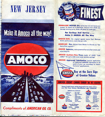 1950 Amoco New Jersey Vintage Road Map