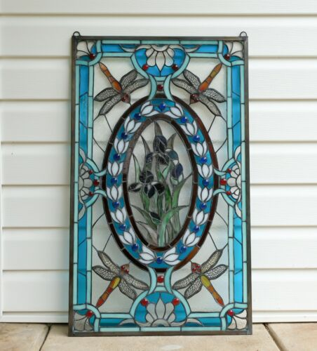 "Stained glass window panel Dragonfly & Iris Flowers, 20.5"" x 34"""