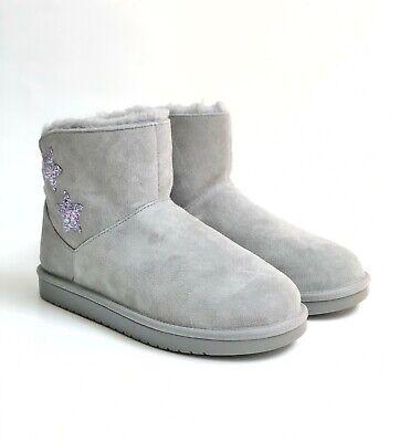 Koolaburra by Ugg K Koola Kids Fur Lined Suede Star Mini Boots Size 5 US Gray