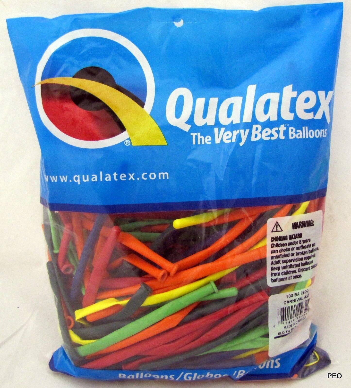 Qualatex Balloons Carnival 100 Ct Random Assortment Animal Twist Sz 260 Balloon