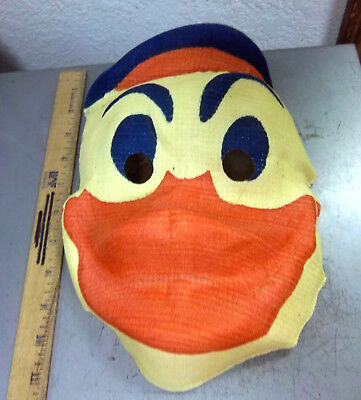 vintage Gauze DONALD DUCK colorful creepy Halloween mask from the 1940s, UNIQUE!