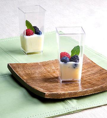 Mini Dessert Plastic Shot Glasses (3 oz Square Tall Cube Plastic Mini Shot Glass Dessert Cup Clear 200 Party Cups)