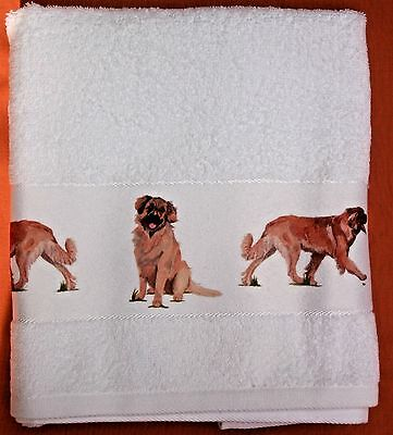 LEONBERGER DOG LARGE HAND/GUEST COTTON TOWEL WATERCOLOUR PRINT SANDRA COEN ART