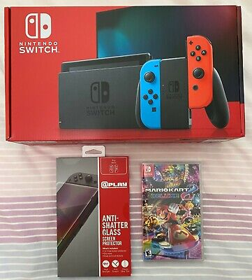 Nintendo Switch Neon Joy-Cons Mario Kart 8 Deluxe Screen Protect Bundle In Hand