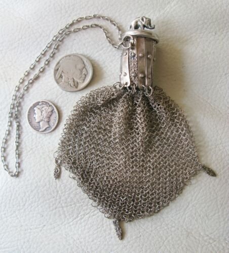 Antique Chatelaine STERLING SILVER ELEPHANT Gate Top Fine Mesh Coin Purse