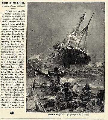 Willy Stöwer Feuerschiff u. Rettungsboot in stürmischer See Graphik um 1900