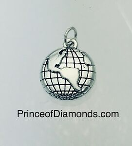 Silver coloured planet earth pendant charm