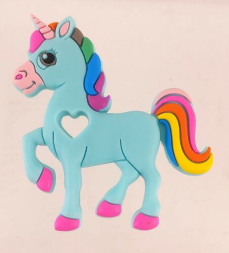 "Unicorn Pony Silicone Flatback Decoration Aqua w/ Rainbow Hair 3.5"" Tall"