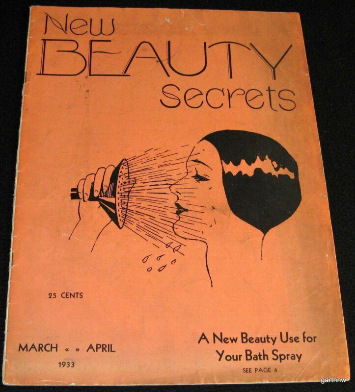NEW BEAUTY SECRETS 1933 RARE MAGAZINE COSMETOLOGY SHOP HAIR DIET DRUGS MAKE-UP