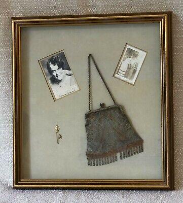 1920s Style Purses, Flapper Bags, Handbags 1920s Shadowbox: Chain Purse and PI GAMMA SIGMA Gold Pearl Pin +Skull Crossbones $79.99 AT vintagedancer.com