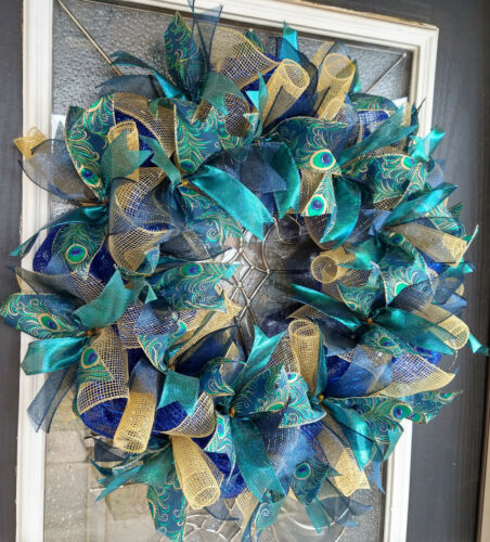 XL Elegant Emerald & Blue Peacock Christmas Holiday Deco Mesh Front Door Wreath