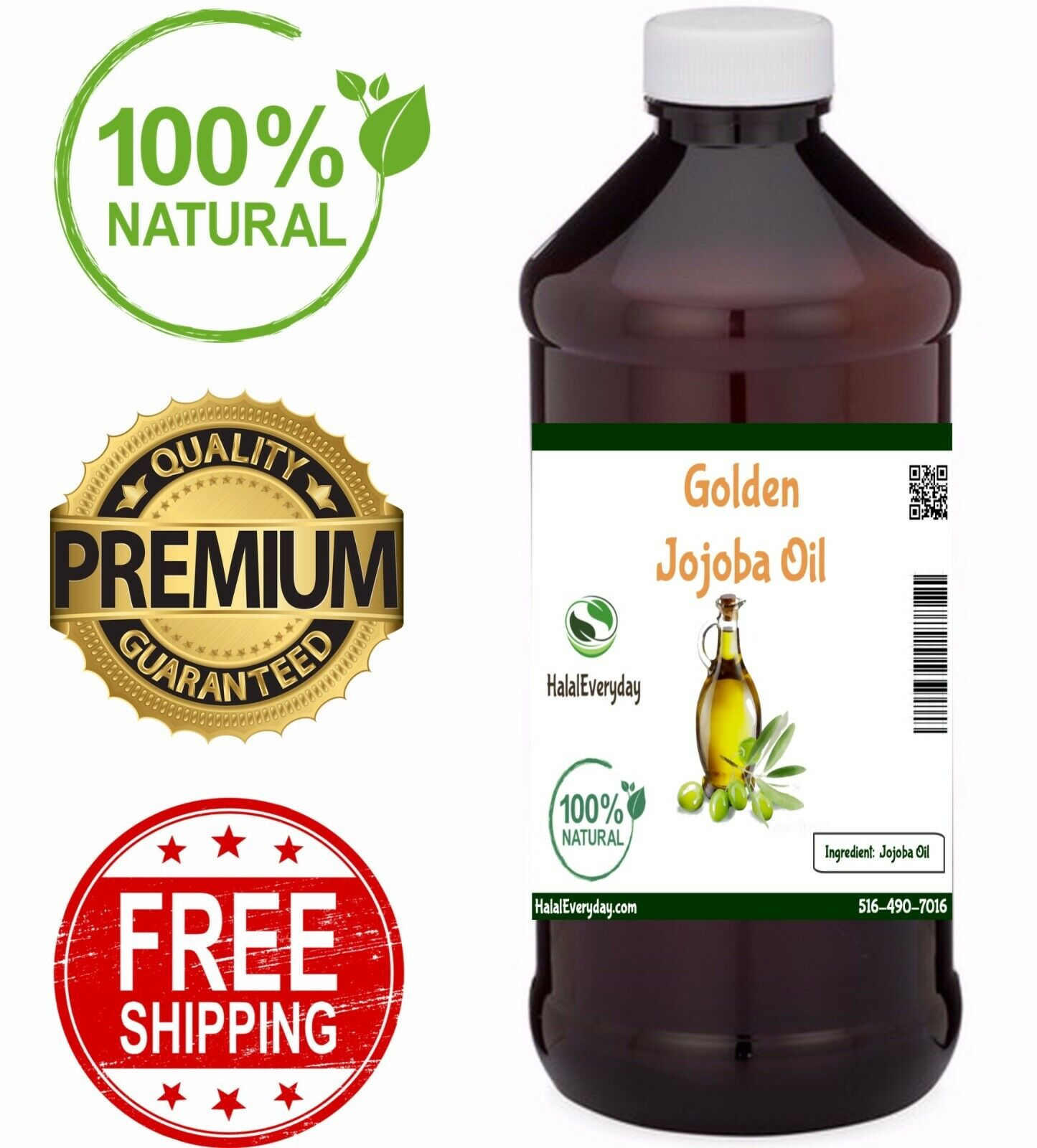 Golden Jojoba Oil - 100% Pure COLD PRESSED Organic Face Hair