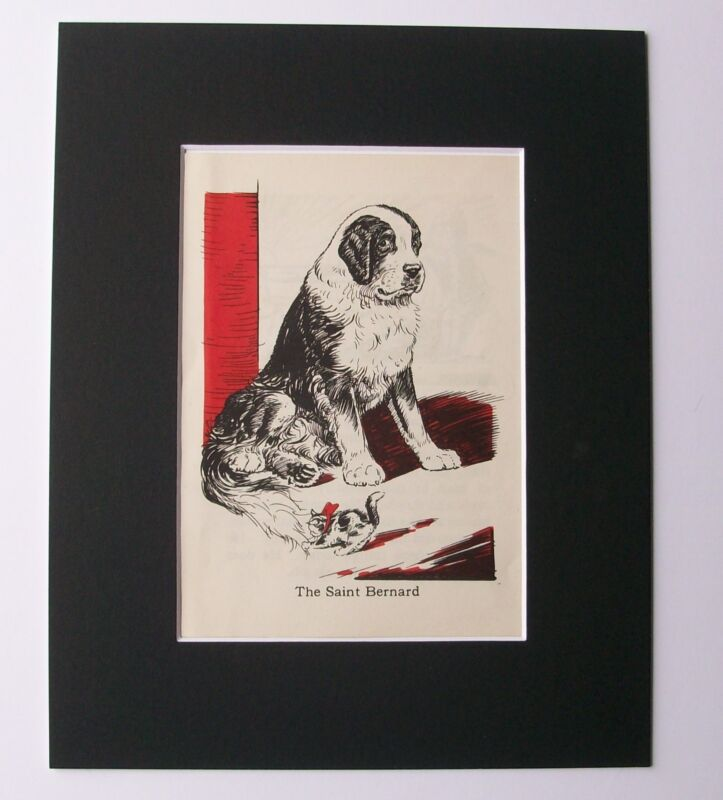 St Bernard Diana Thorne Bookplate Print 1940 Kitten Playing With Dog Tail Matted