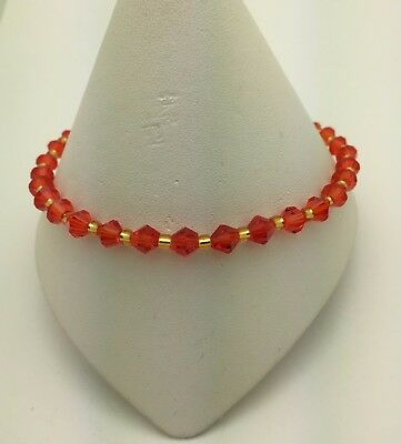 Red and Gold Stretch Ankle Anklet Bracelet