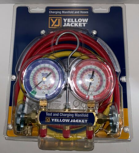 """Yellow Jacket 42004 Refrigeration Manifold with 60"""" Hoses, R-22 / 404a / 410a"""