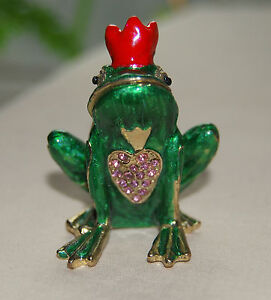 Brand New Prince Charming Noble Frog Limoge style enameled metal trinket box !